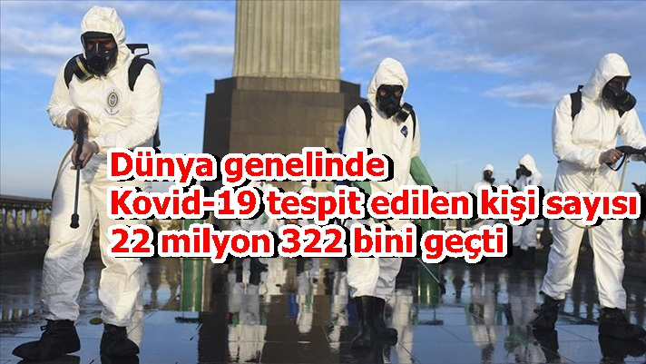 Dünya genelinde Kovid-19 tespit edilen kişi sayısı 22 milyon 322 bini geçti