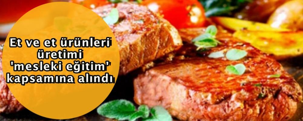 Et ve et ürünleri üretimi 'mesleki eğitim' kapsamına alındı