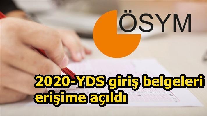 2020-YDS giriş belgeleri erişime açıldı