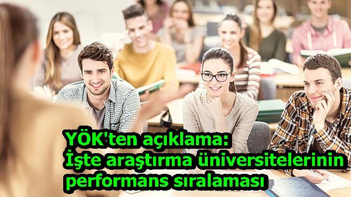 YÖK'ten açıklama: İşte araştırma üniversitelerinin performans sıralaması