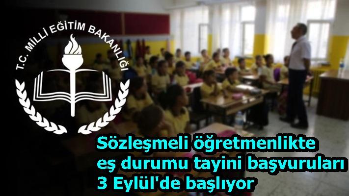 Sözleşmeli öğretmenlikte eş durumu tayini başvuruları 3 Eylül'de başlıyor