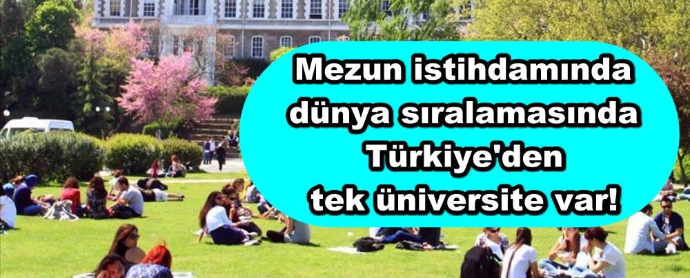 Mezun istihdamında dünya sıralamasında Türkiye'den tek üniversite var!