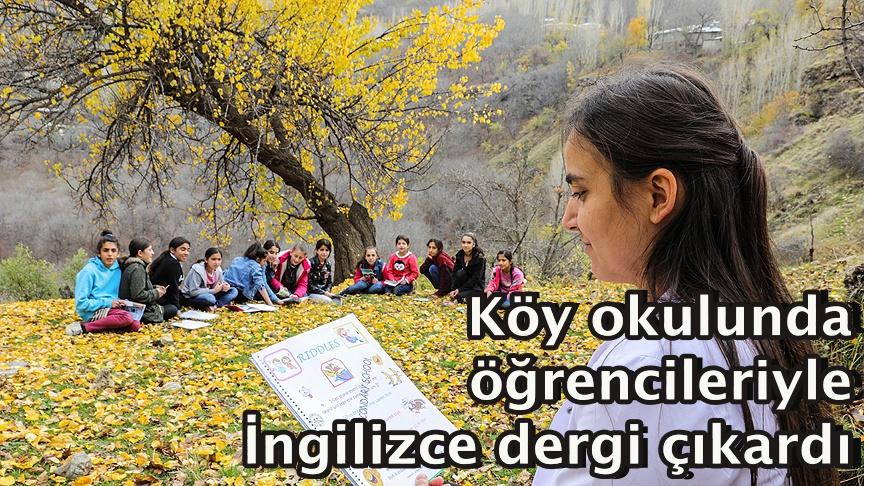 Köy okulunda öğrencileriyle İngilizce dergi çıkardı