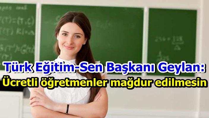 Türk Eğitim-Sen Başkanı Geylan: Ücretli öğretmenler mağdur edilmesin