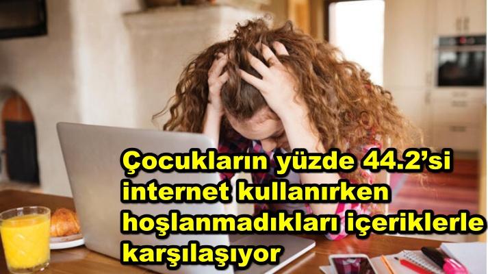 Çocukların yüzde 44.2'si internet kullanırken hoşlanmadıkları içeriklerle karşılaşıyor