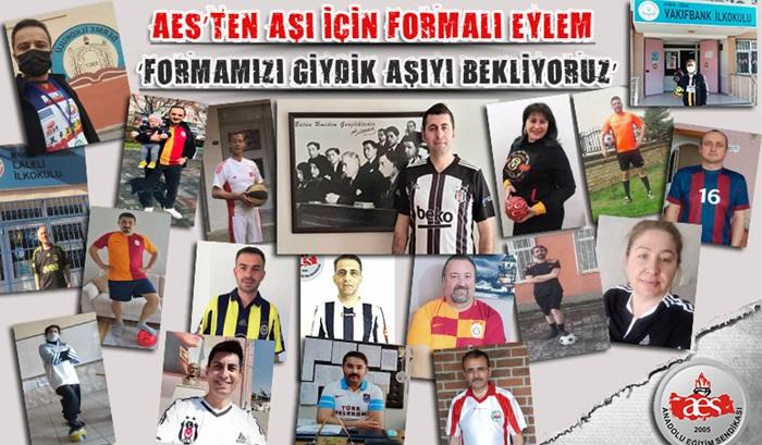 """AES'TEN AŞI EYLEMİ:""""FORMAMIZI GİYDİK AŞIYI BEKLİYORUZ"""""""