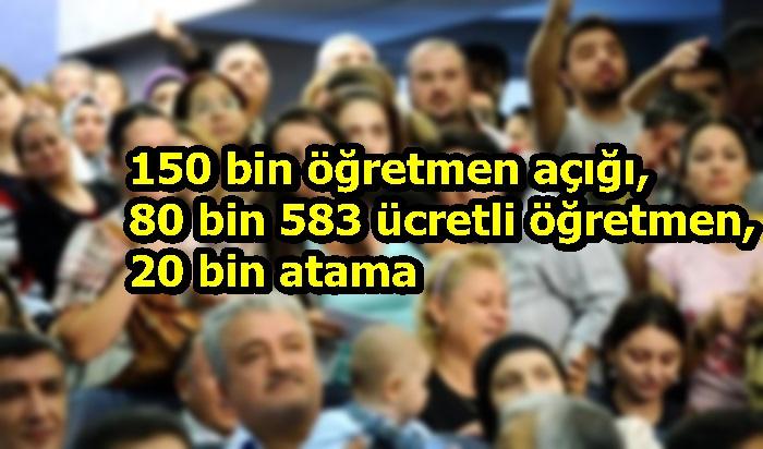 150 bin öğretmen açığı, 80 bin 583 ücretli öğretmen, 20 bin atama