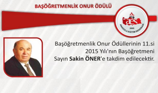 Başöğretmenlik Onur Ödülü Dr. Sakin Öner'in