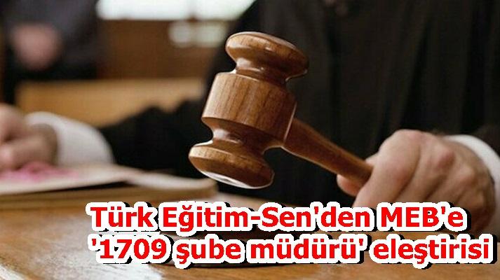 Türk Eğitim-Sen'den MEB'e '1709 şube müdürü' eleştirisi
