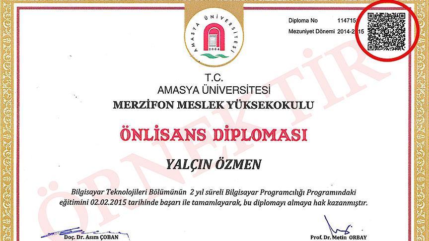 Amasya Üniversitesinde 'karekodlu diploma' uygulaması