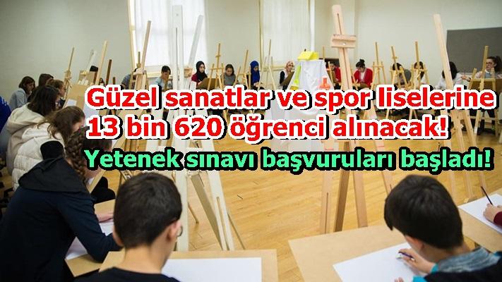 Güzel sanatlar ve spor liselerine 13 bin 620 öğrenci alınacak! Yetenek sınavı başvuruları başladı!